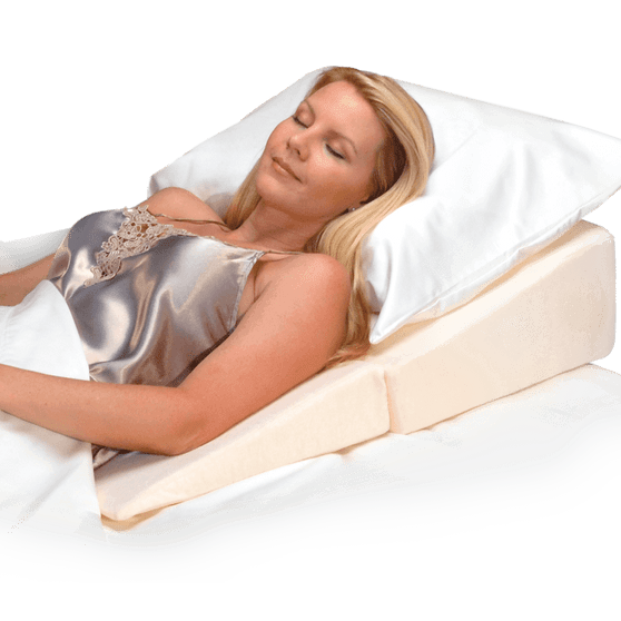 Folding bed wedge helps comfort digestive, respiratory and other pain discomfort.