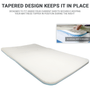 Tapered corners allow the Mattress Pad to be used under your sheets securely & prevent it from moving while in use.