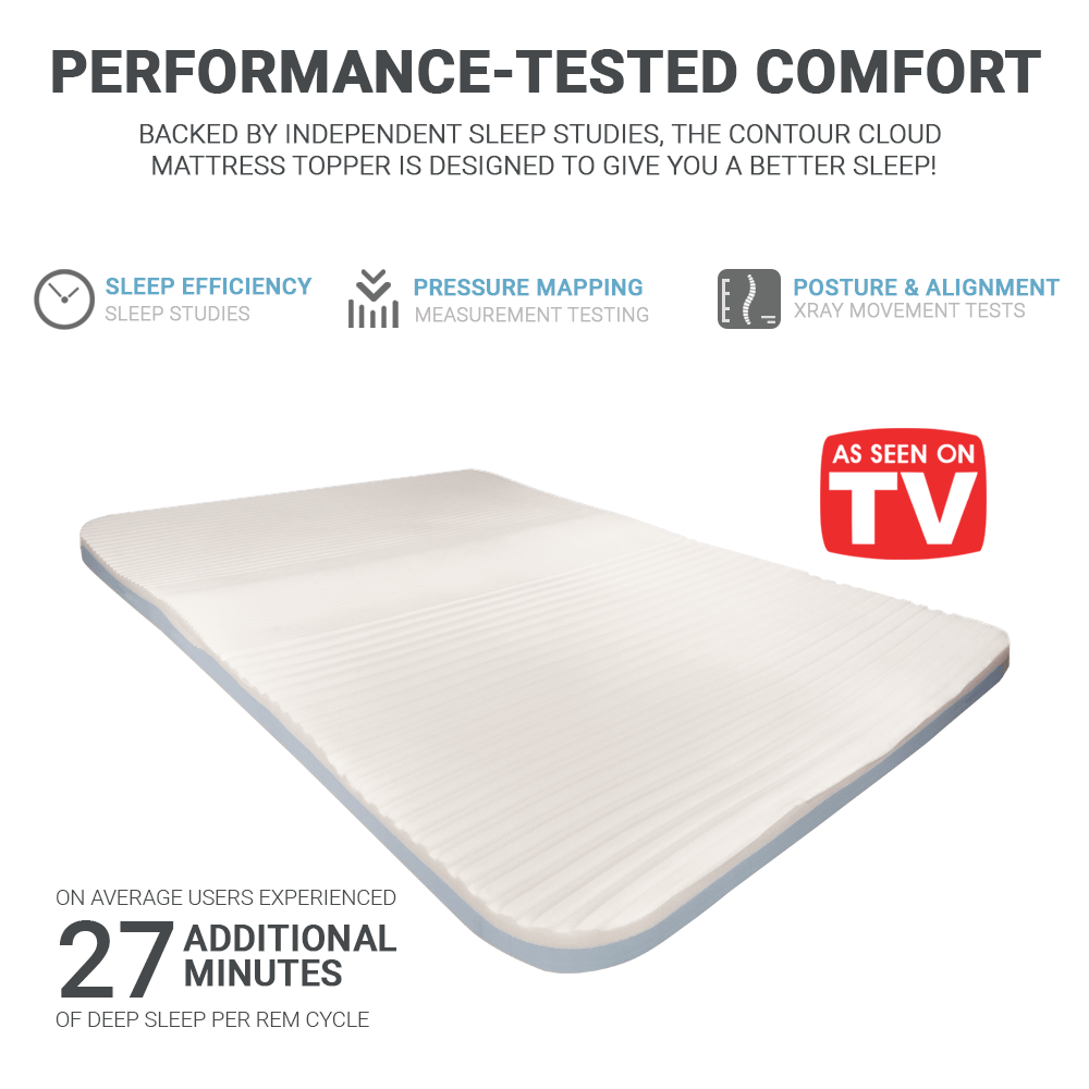 Contour Cloud Memory Foam Mattress Pad Topper With Added Lumbar Support