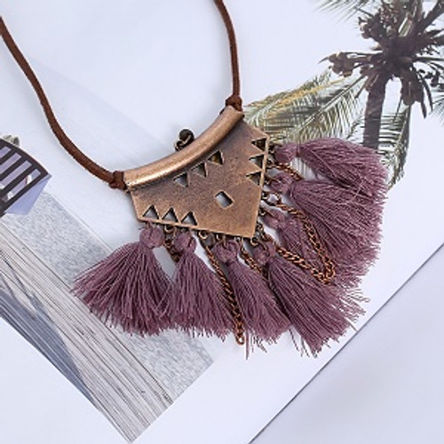 Tassel Necklace Triangle Purple Vintage, boho, on leather adjustable lace. Approx 7 x 2cm