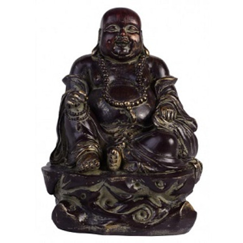 Dark Bronze Buddha Resin Happy Buddha Approx 20 x 15cm