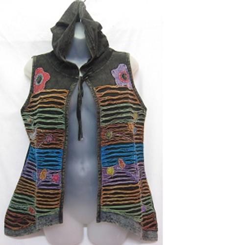Vest Razor Cut Black Pretty vest with hoodie Size S only