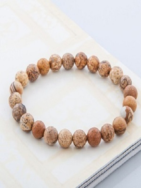 Power Bracelet - Picture Jasper Picture Jasper brings harmony, greater vision appreciation and connection with the bigger picture. It brings to the surface hidden feelings of guilt, envy, hatred and helps you rid them from your live and bring in love for yourself and others. It dispels thoughts that are normally pushed aside, whether from the present of past. Picture jasper stimulates the immune system and the kidneys.