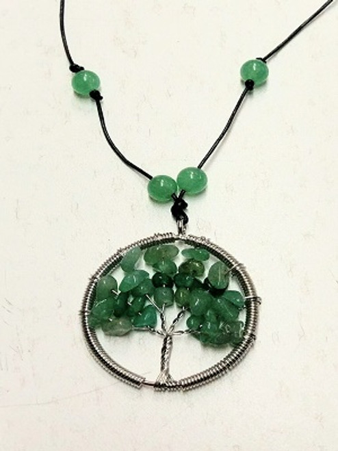 Tree of Life Necklace - Green Aventurine  Aventurine -A stone of Healing & prosperity. Mental agility, see potentials, brings optimism, creativity, imagination, motivation, leadership, friendship, gambling luck, good fortune, career success, protection. A soothing heart chakra stone. So brings happiness, peace, opening heart. Strong healing, vision (physical), blood, headaches, sleep disorders, circulatory system.