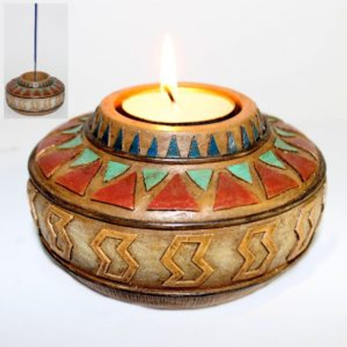 Incense/TLite Holder Beautiful Aztec coloured resin Approx  12x12cm x 6.5cm