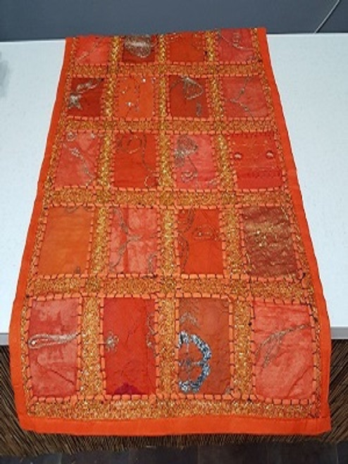 Table Runner Patchwork Orange Beautifull patchwork runner with embroidery & sequins. Size is 35 x 160 cm