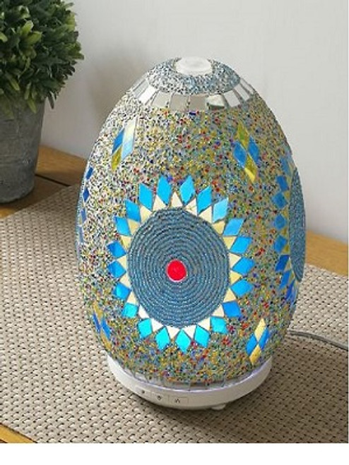 Mosaic Diffuser Blue Gorgeous diffuser with light options & 3 different mist settings Holds up to 200 ml water. Can run up to 8 hours depending on the setting used. Size 20 x 15 cm