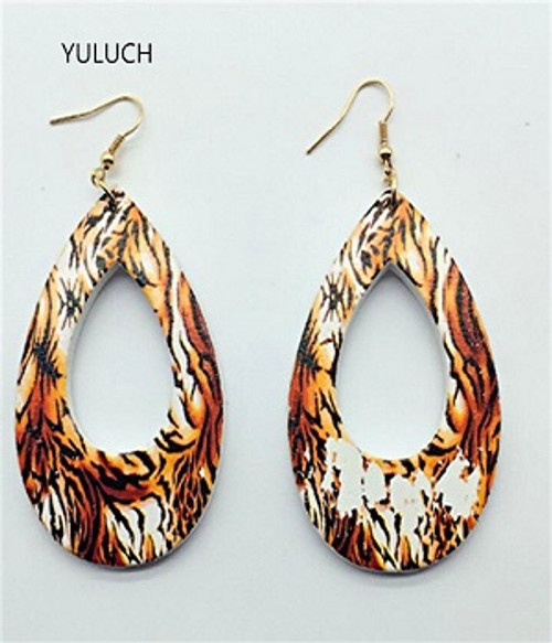 Earring Leopard Skin  Wooden painted, light approx 5cm x 3cm