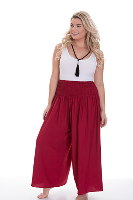 Wide Leg Pant Maroon  Shirred waist. Crinkle cotton Fits from size 14 -24