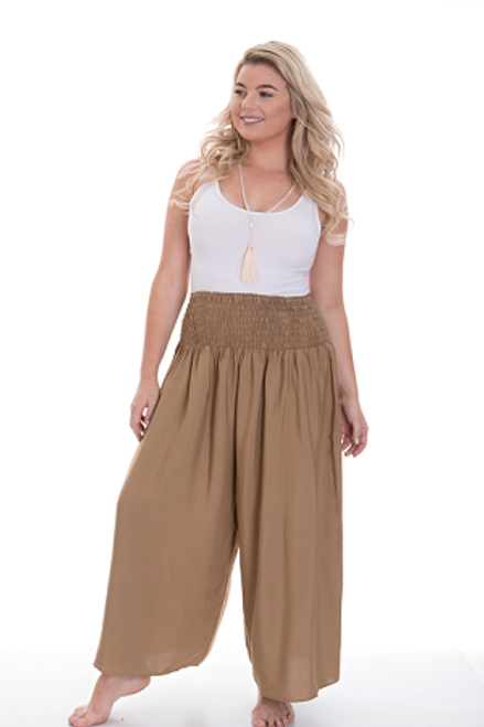 Wide Leg Pant Tan  Shirred waist. 100%cotton Fits from size 14 -24