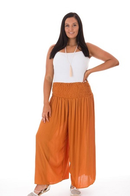 Wide Leg Pant Orange  Shirred waist. 100% crinkle cotton Fits from size 14 -24