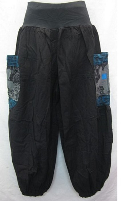 Winter Balloon Pant Black Size L - up to 14/16 100% heavy cotton with stretch waist & elastic at ankles. Has blue flowered pockets at both sides.