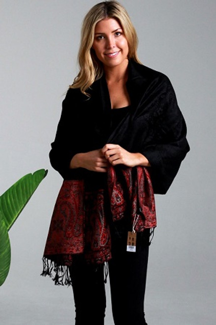 Pashmina Black/Red Paisley  Gorgeous soft 100% pashmina from India