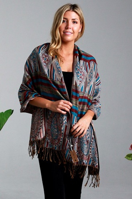 Pashmina Aqua/Brown Aztec  Gorgeous soft 100% pashmina from India