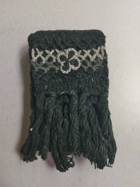 Knit Scarf Charcoal/Black  100% pure wool Has tassles & crochet ends with a pretty crochet flower. Approx 20cm wide x 180cm long