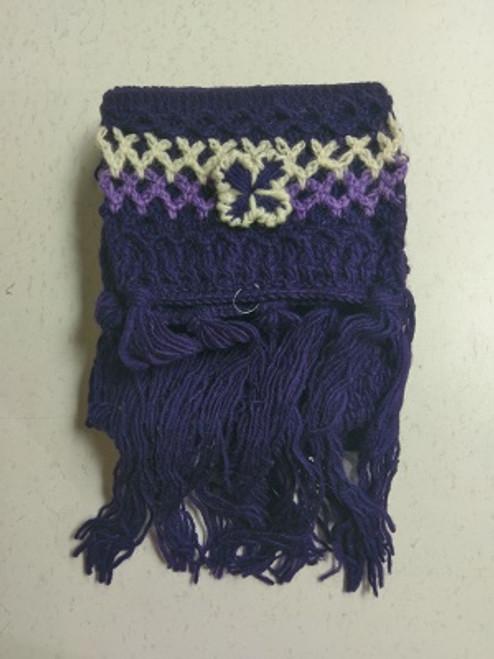 Knit Scarf Purple  100% pure wool Has tassles & crochet ends with a pretty crochet flower. Approx 20cm wide x 180cm long