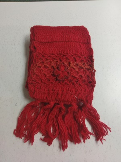 Knit Scarf Red  100% pure wool Has tassles & crochet ends with a pretty crochet flower. Approx 20cm wide x 180cm long