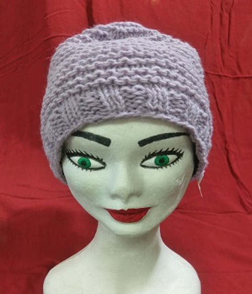 Beanie Cable Knit Mauve  Fleecy lined for warmth