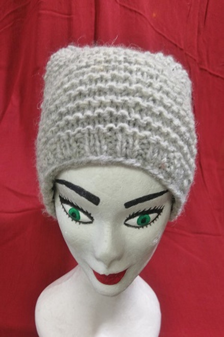 Beanie Cable Knit Light Grey  Fleecy lined for warmth