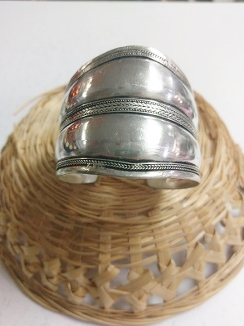 Tibetan Wide Bangle  Tibetan Silver.