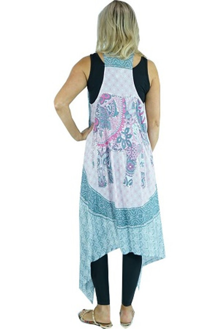 Vest Long Pink with elephant print