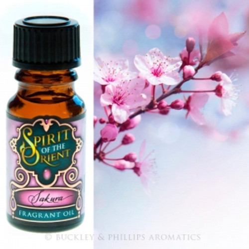 Fragrant Oil Spirit of the Orient Sakura Sakura is Japanese for Cherry Blossom. A metephor for the nature of life. Blossoming cherries & plum trees, bergamot smoked tea & maple & ceder shavings.