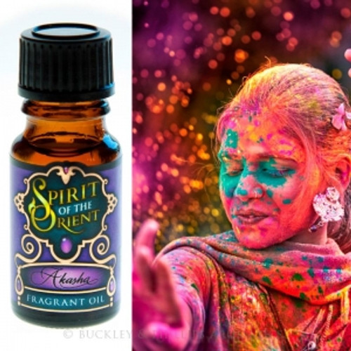 Fragrant Oil Spirit of the Orient Akasha Akasha is the first element & the basis for all things in the natural world. Sandlewood & patchoulie create a warm base sweetened with warm musk & orange blossom.