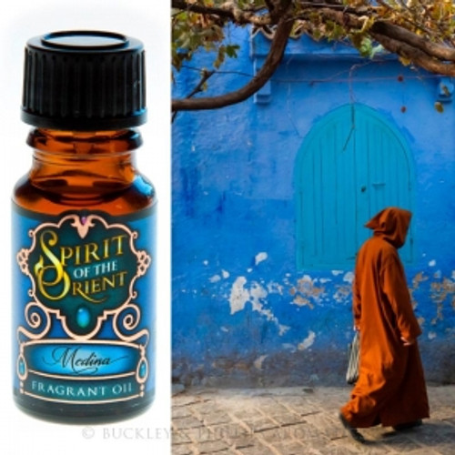 Fragrant Oil Spirit of the Orient Medina Medina are narrow lanes that wind through the old Arab quarters of north Africa. Precious frankincense, amber & myrrh, aromatic cardamon & corriander with burnt sugar.