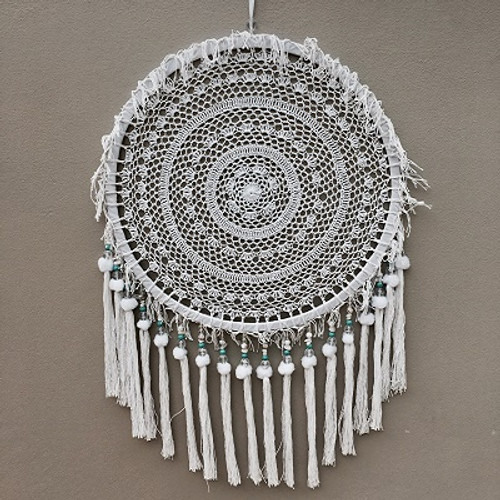 Dreamcatcher Medalian  Lace with tassels & blue beads  Large at 50cm in diameter
