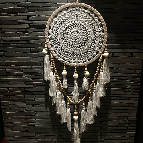 Dreamcatcher Lace, Pom Pom & Tassels  Gorgeous with natural wooden beads & feathers Approx 35cm x 90cm