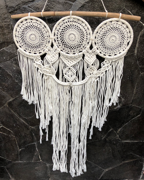 Dreamcatcher  Macrame 3 circle   Gorgeous with natural wooden, lace & macrame Approx 75cm x 120cm