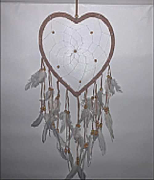 Dreamcatcher  Heart  Gorgeous with natural beads & feathers Approx 30cm x 65cm