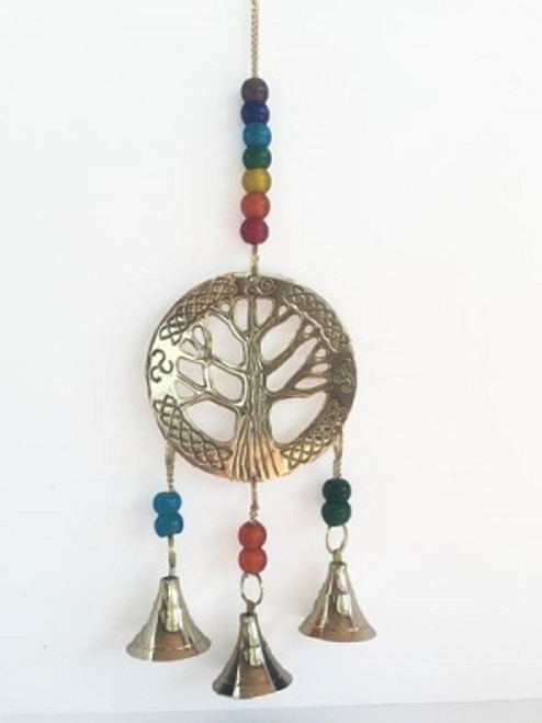 Bells Tree of Life Green Beads  Brass with Green beads Approx 8cm x 30cm