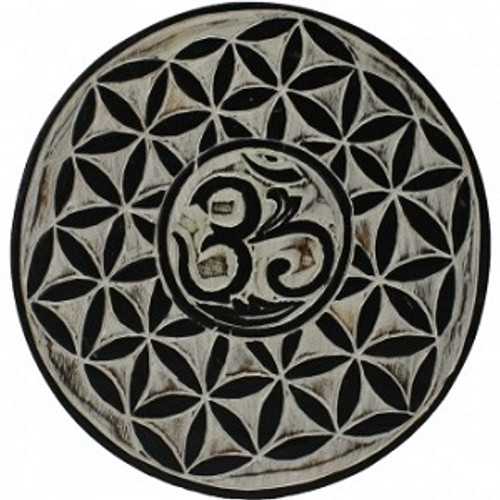 Wooden OM  White wash, approx 30cm round can be used as a wall hanger, crystal grid etc etc.