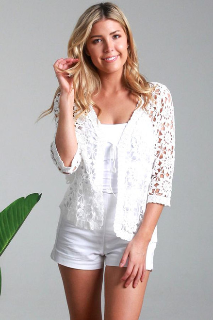 Cardie Lace White Flower  Lovely flower pattern lace with 3/4 sleeve and a tie lace at neckline, can be worn open or tied.