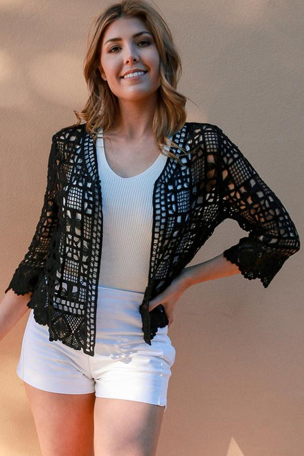 Cardie Lace Black Square  Lovely squares pattern lace with 3/4 sleeve