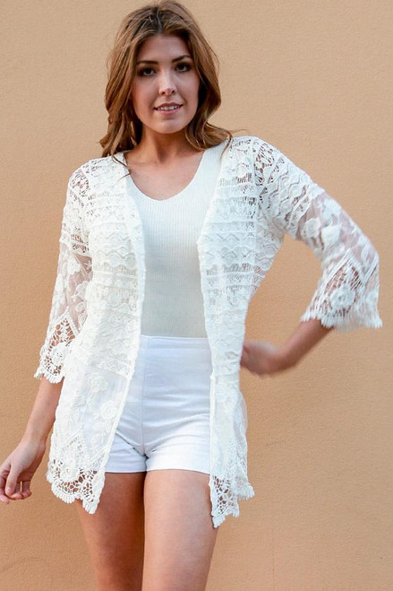Cardie Fine Lace White   Lovely with fine lace & 3/4 sleeve  size 8/10-14/16