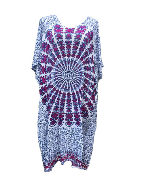 Kaftan Long Mandala Burgandy/navy