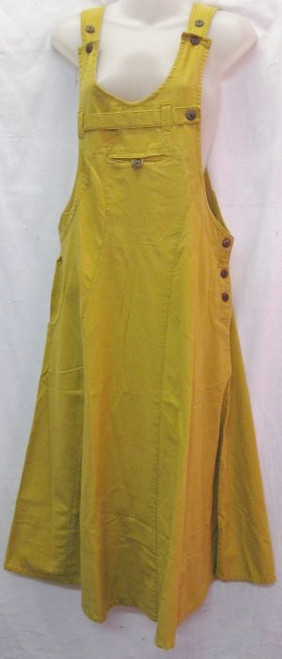 Overall Dress Mustard  Trendy to wear with a tee. Has button details. Made from 100% cotton/linen