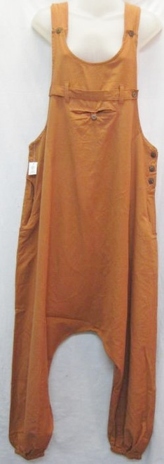 Overall Pant Rust  Trendy to wear with a tee & so comfortable.  Has button details & dropped crutch. Made from 100% cotton/linen
