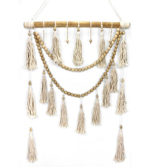 Wall Hanger with tassels & beads  Natural colour Approx 60cm x 80cm