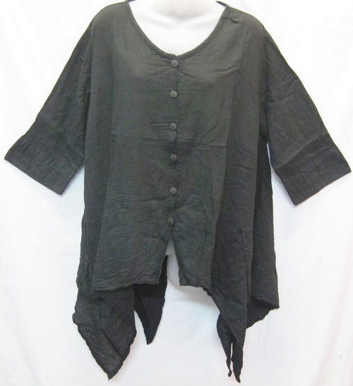 Angle Top Black  3/4 sleeve with buttons at front & angled hemline 100% cotton size to fit 10-16