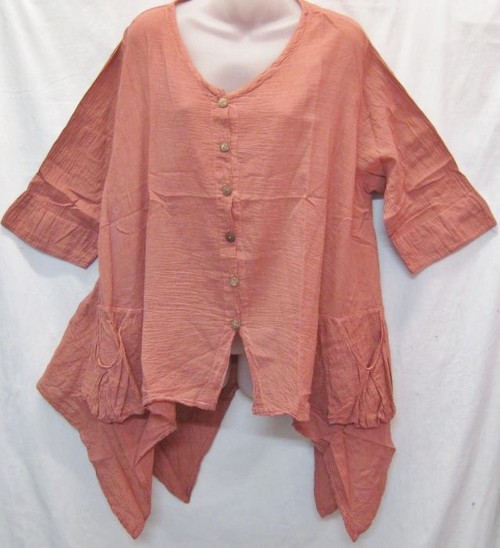 Angle Top Salmon Pink  3/4 sleeve with buttons at front & angled hemline 100% cotton size to fit 10-16