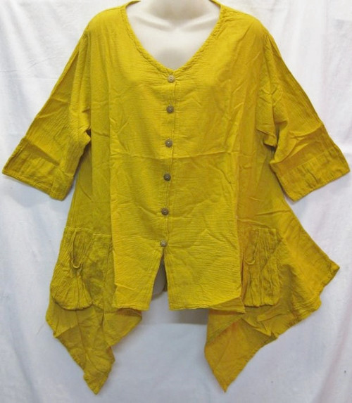 Angle Top Mustard  3/4 sleeve with buttons at front & angled hemline 100% cotton size to fit 10-16
