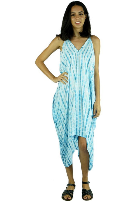 Festival Dress Glass Blue Super comfortable. Spaghetti straps with pockets at sides & hi low hem. Size fits 10-16