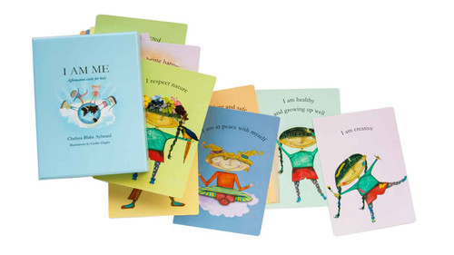 I AM ME - Affirmation cards for kids.  'I AM ME'  are a pack of 44 affirmation cards for kids, focused around constructive thoughts that can be repeated frequently to encourage positive thinking.  In a time where social media, bullying and self-esteem issues are so prevalent, 'I AM ME' is a