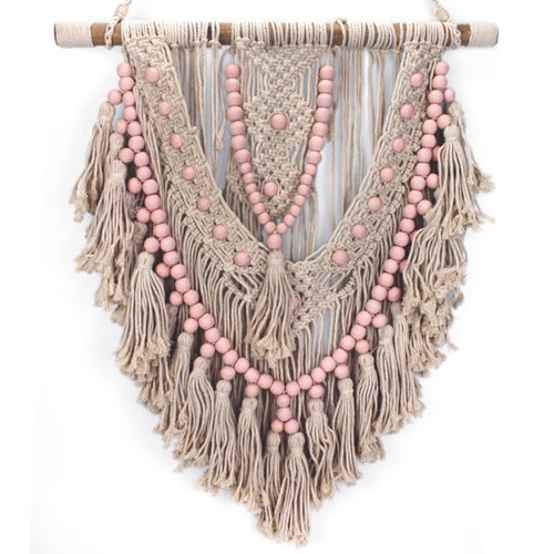 Macrame Hanger Pink  Gorgeous macrame work with pink beads on natural fibre.  600 x 700cm