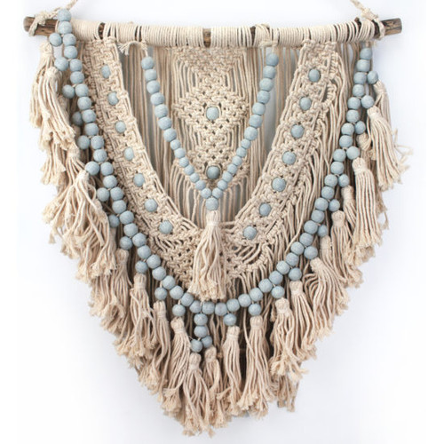 Macrame Hanger Gray  Gorgeous macrame work with pink beads on natural fibre.  600 x 700cm