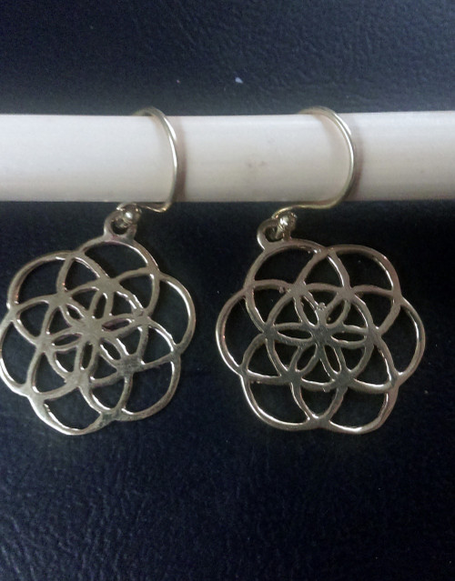 Flower of life earrings made from brass.