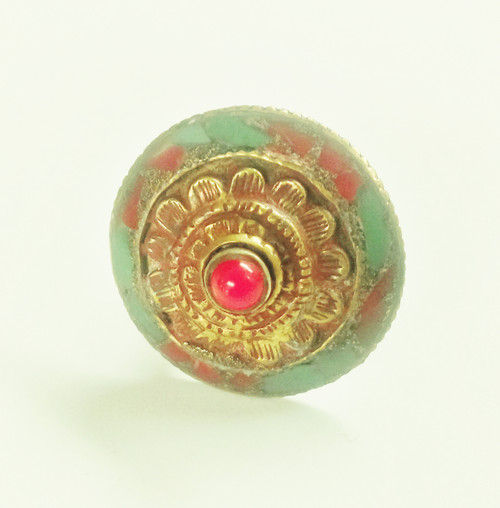 Tibetan Round Ring with red coral, size 7